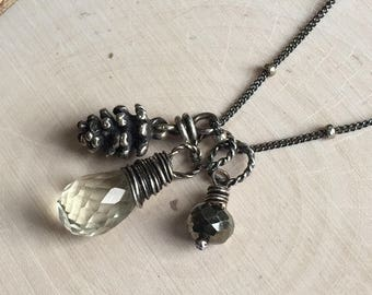 Green Amethyst- Sterling Pine Cone Charm,  Wire Wrapped Green Amethyst - Oxidized Silver Necklace