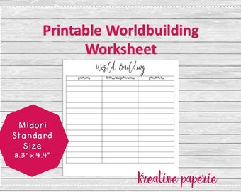 World-building Worksheet Printable Traveler's Notebook Pages, Midori Inserts, Bullet Journal Standard Size