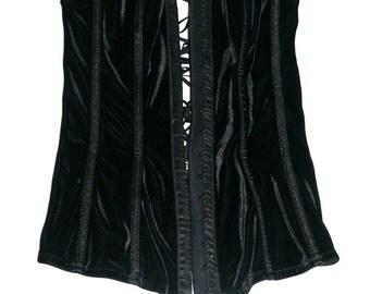 Fabulous Black Velvet Vintage Corset- Size S/M