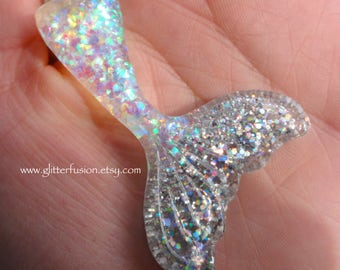 White Opalescent Silver Holographic Resin Mermaid Tail Pendant, Kawaii White Opal Mermaid Necklace, Summer Beach Babe GlitterFusion Necklace