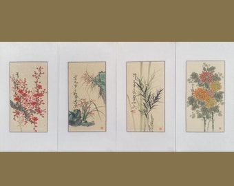 Flower plants paintings,plum blossom,orchid,bamboo,Chrysanthemum,chinese watercolour painting,floral painting,wall art,chinese art,set of 4