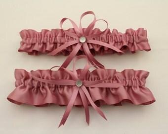 Mauve Satin Wedding Garter Set, Bridal Garter Set  (Your Choice, Single or Set)