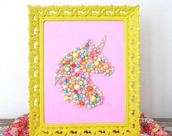 Unicorn Wall Art - Kawaii Picture - Bead Wall Hanging - Kitsch Plastic Art - Pink Pearl Mosaic Unicorn - Silhouette Head Ornate Framed Art