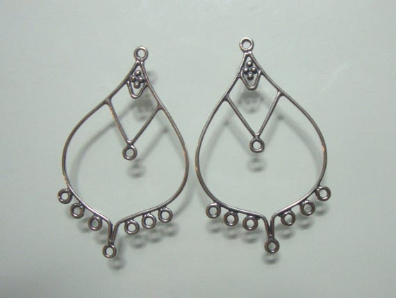 2 pairs, 41x25mm, Lightly oxidized Sterling Silver Elongated Chandelier earwire, CC-0042