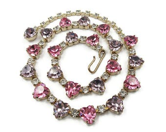 Hattie Carnegie Heart Shape Rhinestone Necklace - Pink Rhinestones, Purple Rhinestones, Vintage Necklace, Vintage Jewelry