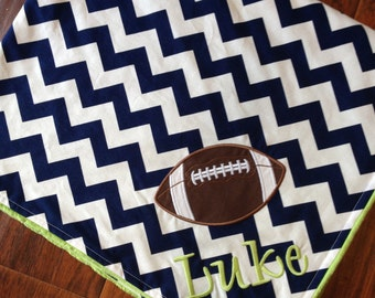 Personalized Baby Blanket -Football Blanket- Minky Baby Blanket- Sports Baby Blanket