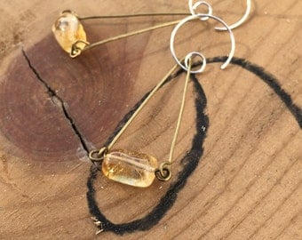Citrine triangle earrings