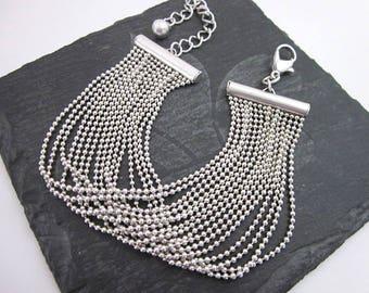 Layered Silver Bracelet -- Small Chain Bracelet -- Silver Multi Chain Bracelet -- Loose Silver Bracelet -- Silver Ball Chain Bracelet