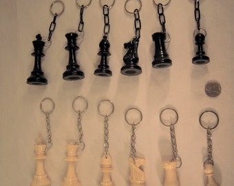 Chess pieces keychains- Vintage 1980's era chess pieces