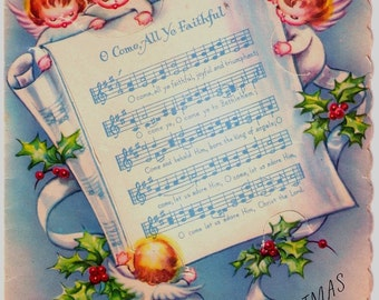 Vintage Christmas Card Baby Angels Sheet Music