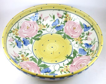 VINTAGE - Large Ceramic Serving Bowl - Handmade Porcelain Dish - Perfect for Parties - Coffee Table Center Piece - Rose Design - OOAK