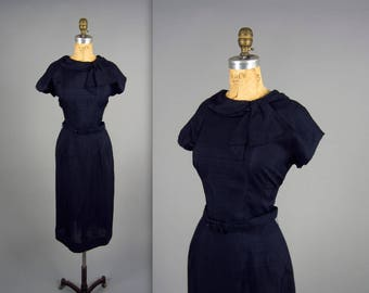1950s midnight blue wiggle dress • vintage 50s hourglass dress • navy blue day to night dress