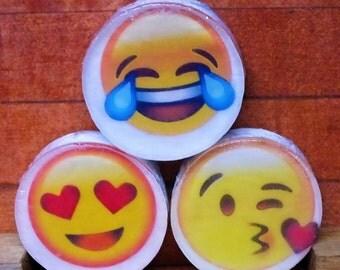 FREE SHIPPING Emoji Soaps   Three Emoji Double Pour Glycerin Soaps
