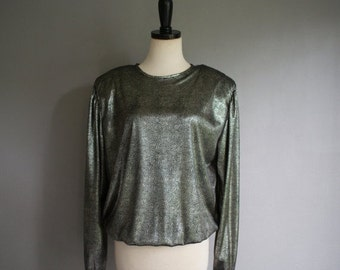 30% off// Vintage 80s Silver LIQUID Speckled POWER SHOULDER Slouchy Top (s-m)