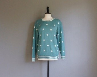 30% off// Vintage POLKA DOT Teal Pullover Sweater 80s Style (m)