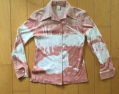 Vintage Long Sleeve Button Down Collared Ladies Print Blouse