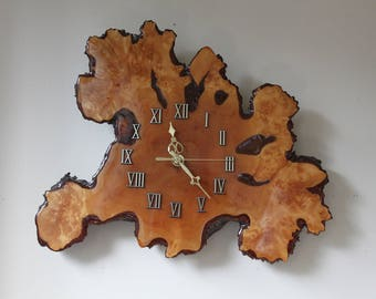 Vintage Mid Century Modern Burl Wall Clock, Natural, Biomorphic