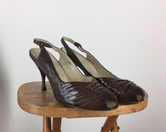 1950s Peep Toe Lizard Pumps / Palizzio Pumps / 8.5