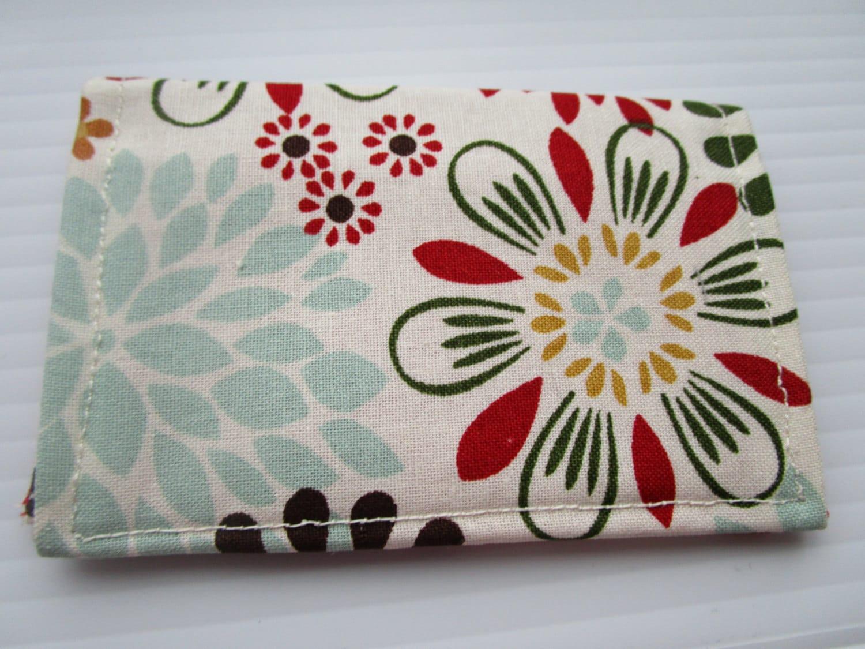 Multi Petal Paisley Print Credit Card Wallet, Business Card Holder ...