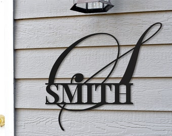 Personalized Metal Family Name Monogram Sign for Outdoor Use