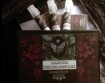 Valentine Alchemy Gift Box Set of Natural Perfume Sample Vials Set of 3
