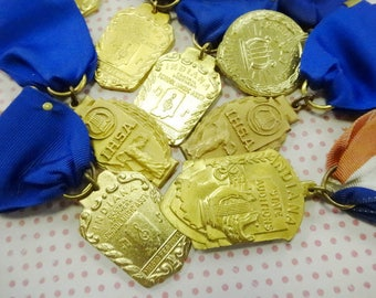 Vintage State of Indiana School Band Award Ribbon Fob Medal Badge Lot (9) Each Patriotic Costume Decoration Brooch Pin
