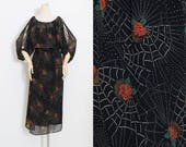 Vintage 70s Dress | spiderweb rose print 1970s dress | open sleeve | s/m/l