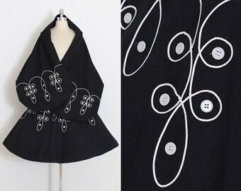 Vintage 50s Skirt with Wrap | black cotton pique | button trim | small | 5870