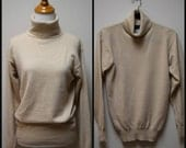 Reserve for JANA:  VINTAGE Country Shop Oatmeal Beige Hong Kong Cashmere Turtleneck Sweater Size S