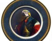 "ON SALE Earl of Psittacoidea Portrait Plate 10.75"""