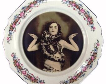 """SALE - Damaged - The Snake Lady Portrait Plate 7.7"""""""