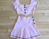 Vintage 1940s Playsuit, 40s Pink Cotton Shorts and Crop Top, 2pc High Waist Shorts and Top, Junior Co-Ed
