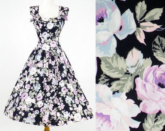 50s Rose Print Dress, 1950s Inspired Dress, Floral Cotton Dress, Full Skirt Dress, 1980s Sun Dress, Garden Party Dress, Small