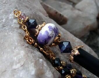Purple Geisha Style Hair Stick with Purple Velvet Swarovski Crystals Hair Sticks Dangle Hairstick Hair Chopsticks - Harmony