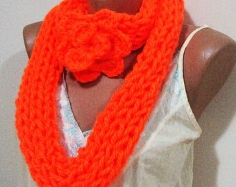 Hand Knit Scarf / Orange Scarf / infinity Scarf / Womens Gift for Her - orange gifts