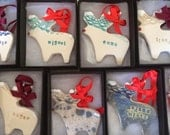 handmade ceramic christmas tree decorations reserved for Linda