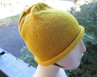 Beanie Hand Knitted by SuzannesStitches, Womens Beanie, Hand Knit Beanie, Mens Skull Cap, Yellow Beanie, Burnt Orange Beanie, Winter Beanie