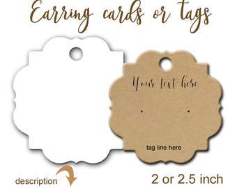 Earring Cards, Jewelry Display, Custom Tags, Custom Ear Cards, Earring Display, Product Tags