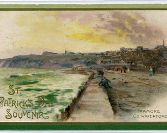 St Patrick's Day Holiday Greeting Tramore Waterford Ireland 1910c postcard