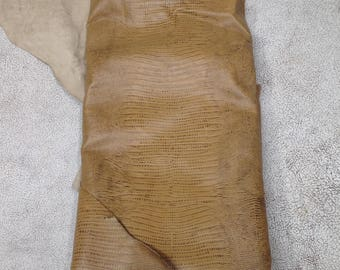 PREM405. Camel Embossed Lizard Leather Cowhide.