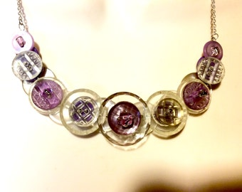 Vintage in Violet button necklace