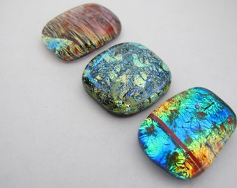 Three Variegated  Free-form Dichroic Cabochons