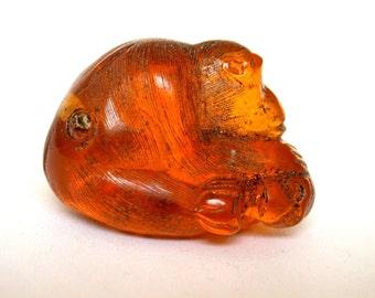 Vintage Japanese amber netsuke -Mother Monkey Pets baby Monkey while It naps,signed by artist