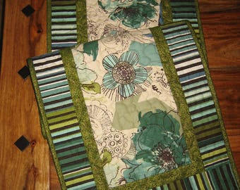 """Quilted Table Runner, Contemporary Aqua Green Flowers Brown Paisley, Wide 15 x 48"""" 100% Cotton fabrics Reversible"""