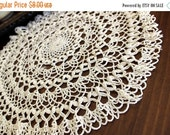 DAMAGED Crochet Doily in Cream, Hand Crocheted, Large Lacy Crocheted Doilies, Vintage Table Linens 13689