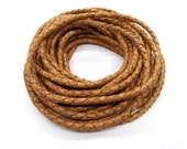 Light Brown Braided Leather Cord 4mm, Genuine Leather Cord for making bracelets or necklaces, Sold in 40 cm Lengths