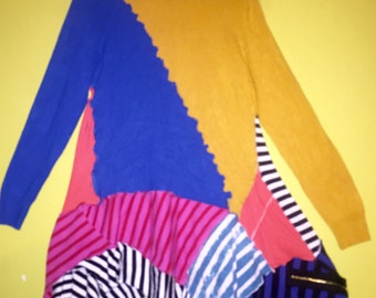 Color block and stripes upcycled tunic fits S M