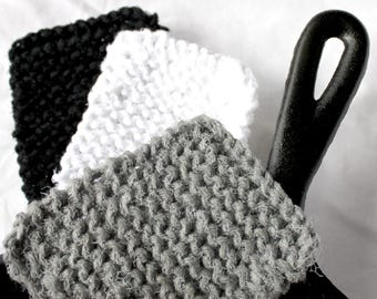 Three kitchen scrubbies yarn and tulle black white gray