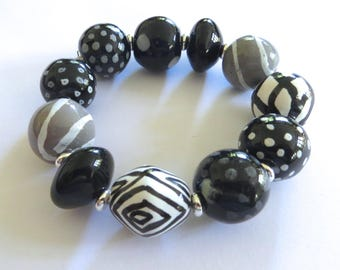 Beaded Bracelet, Kazuri Bangle, Fair Trade, Ceramic Jewelry, Black White and Grey