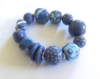 Beaded Ceramic Bangle, Shades of Blue Bracelet, Kazuri Bracelet